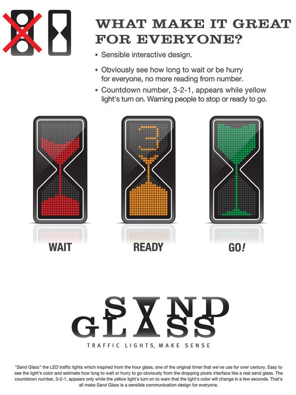Thanva Tivawong sand glass traffic lights redesign design timer make sense countdown1 Homokórás közlekedési lámpa